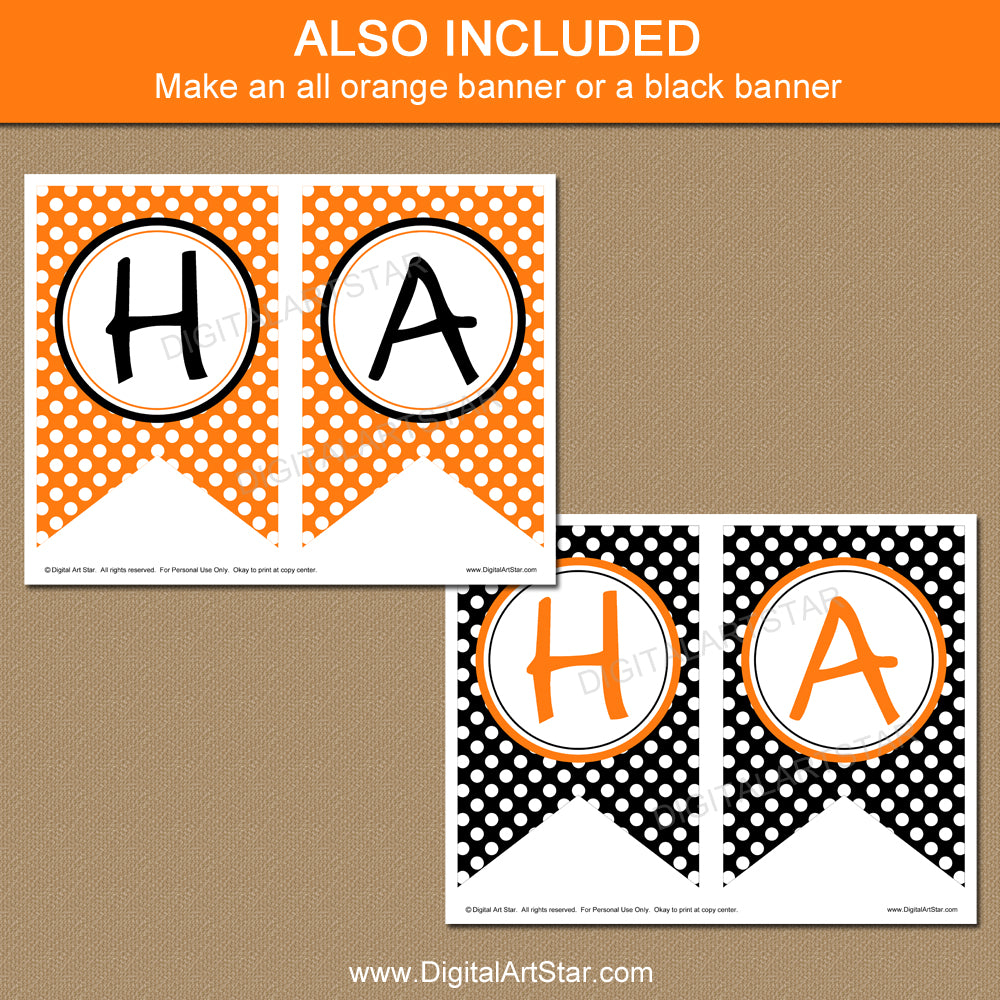 Orange and Black Halloween Printable Banner
