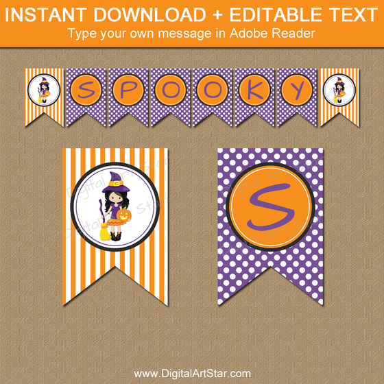 image about Printable Halloween Banners referred to as Printable Halloween Banners with Editable Phrases Electronic Artwork