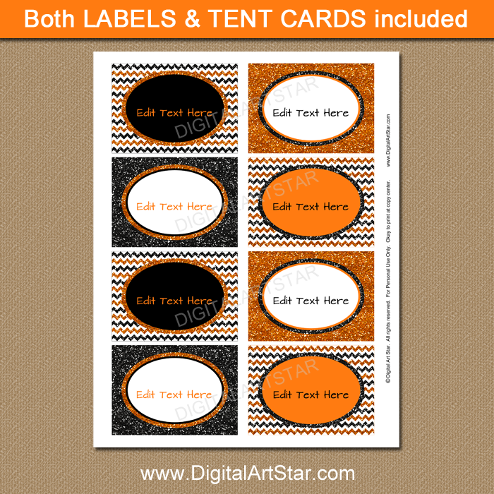 Orange and Black Glitter Labels