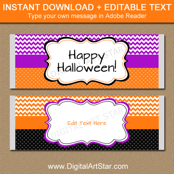 Printable Halloween Candy Wrapper Template