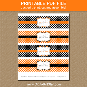 Printable Halloween Water Bottle Label Template