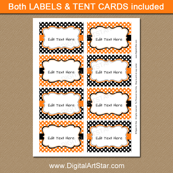 instant download Halloween buffet cards