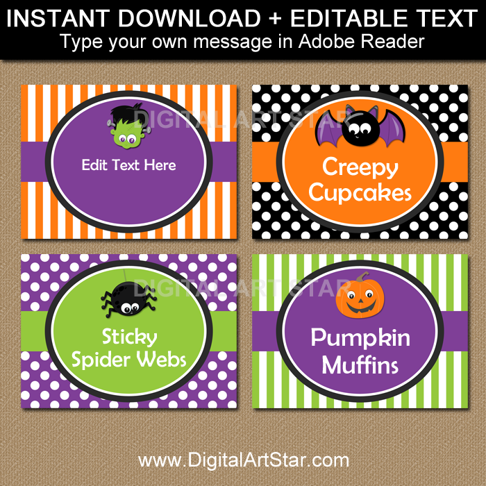 cute Halloween candy buffet labels by Digital Art Star