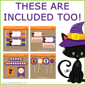 Halloween Candy Wrappers, Bag Toppers, Printable Banner, Cupcake Toppers
