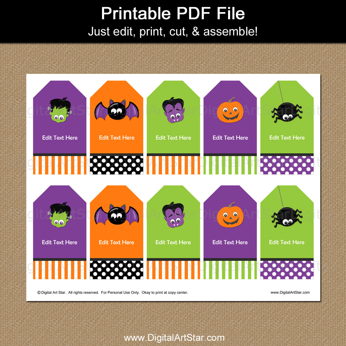 picture regarding Printable Halloween Tag identify Halloween Cling Tags Monster Faces