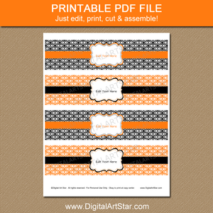 Printable Black and Orange Water Bottle Label Template