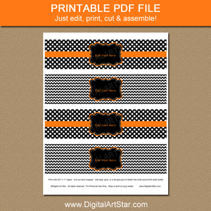 Black and White Printable Halloween Water Bottle Labels with Orange Accents