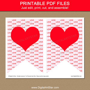 Printable Heart Banner for Valentines Day