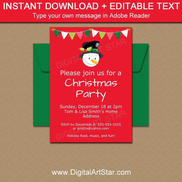 Printable Snowman Invitation Template