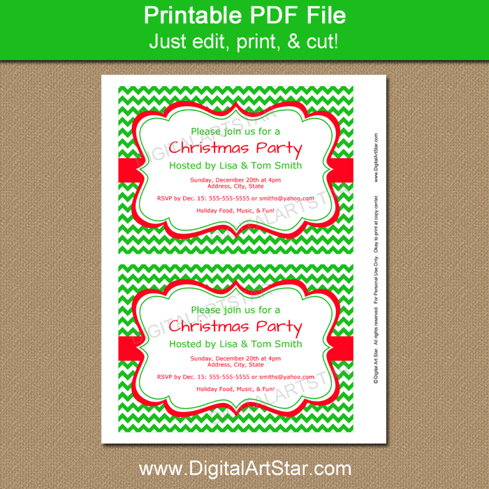 Printable Holiday Invite with Green Chevron