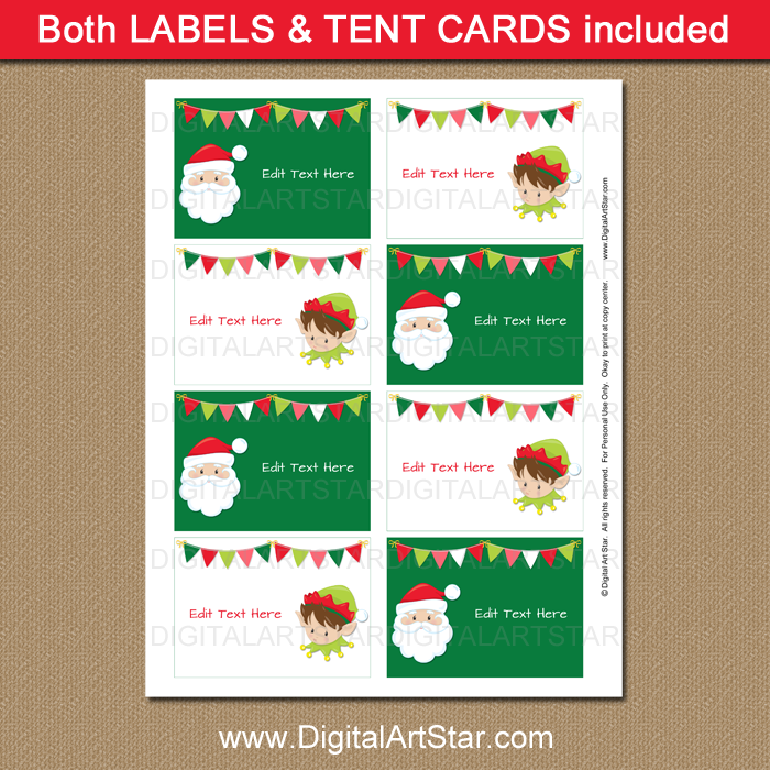 Printable Santa and Elf Labels for Christmas
