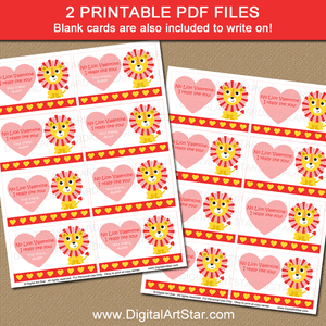 Lion Valentine Cards Printable PDF