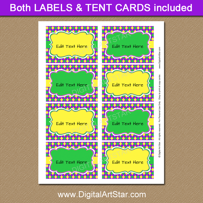 Yellow and Green Mardi Gras Labels Printable