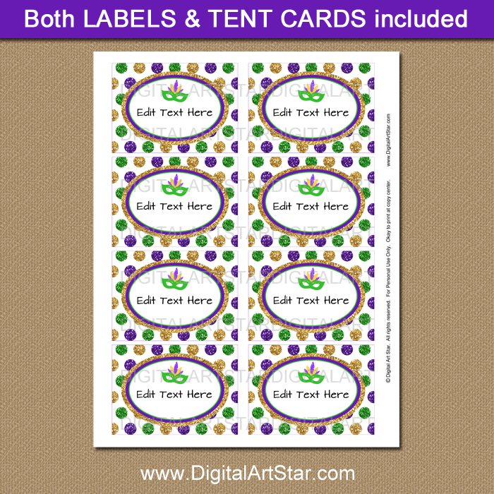 Printable Mardi Gras Candy Buffet Labels