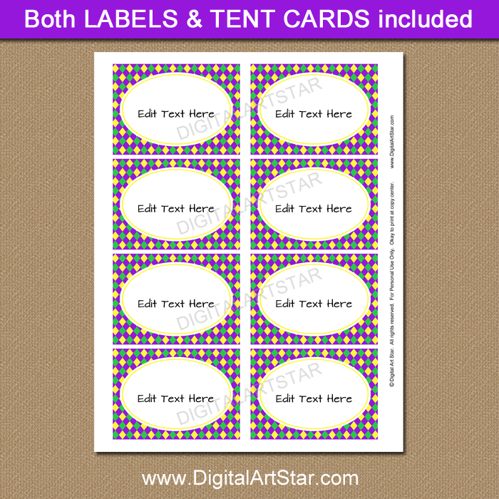 Printable Mardi Gras Food Labels