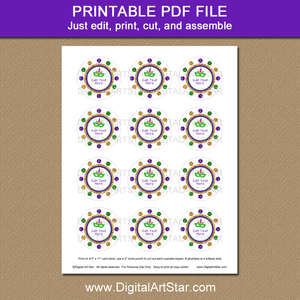 Printable Mardi Gras Cupcake Decorations