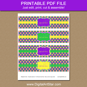 Printable Mardi Gras Water Bottle Stickers