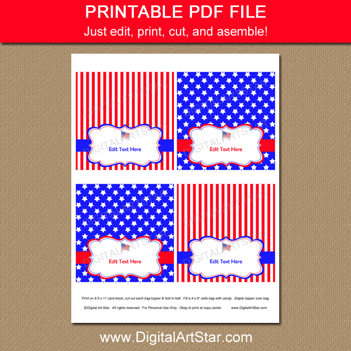 Printable 4th of July Goodie Bag Toppers