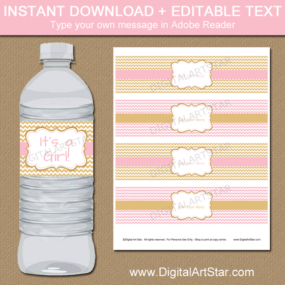 Pink And Gold Water Bottle Labels