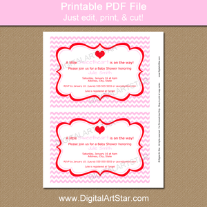 Pink Chevron Invitation for Valentine's Day