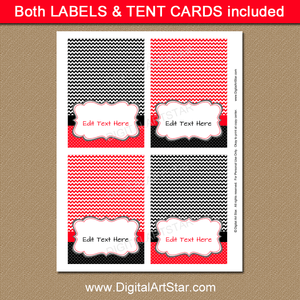 Printable Place Cards Red and Black