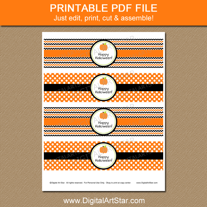 Printable Halloween Water Bottle Labels in Orange and Black