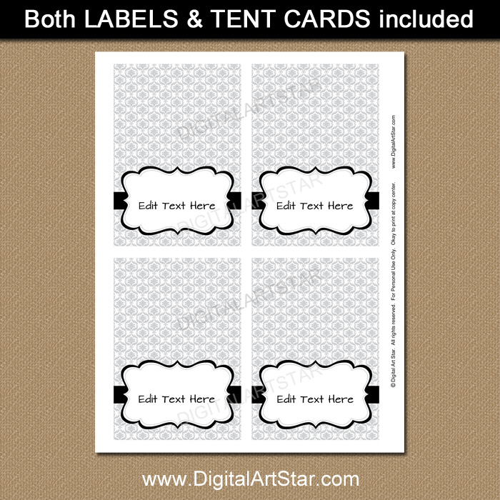Printable Silver Place Cards