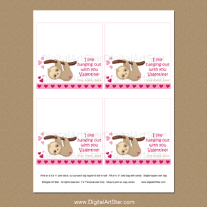 Personalized Sloth Valentines Day Party Favor Idea