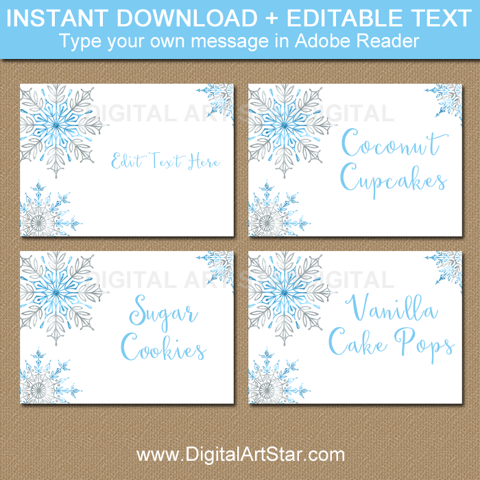 Snowflake Food Labels, Snowflake Name Labels