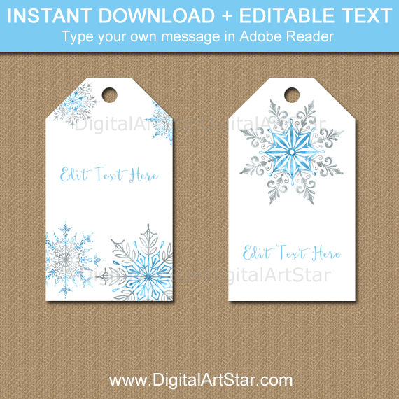 Printable Snowflake Gift Tags - White, Blue, Silver