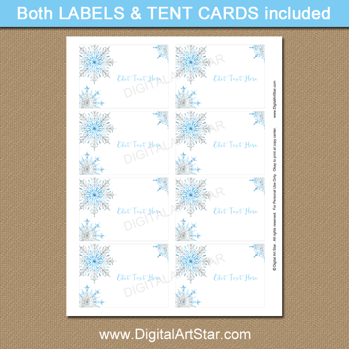 Printable Snowflake Christmas Labels