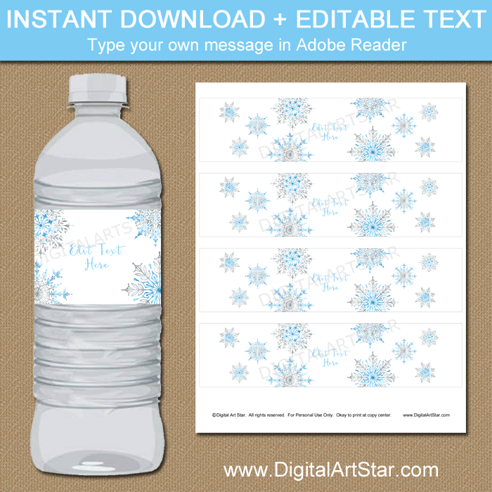 photograph about Printable Bottle Labels known as Printable Snowflake H2o Bottle Labels - White, Blue, Silver