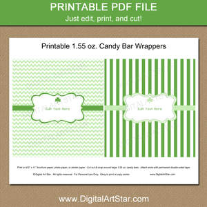 Printable Green St Patricks Day Chocolate Bar Wrappers