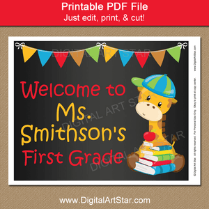 Printable Teacher Chalkboard Sign for Back to School