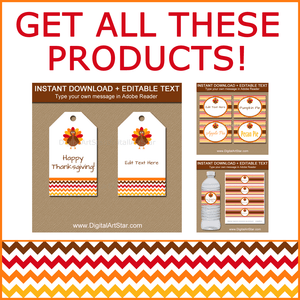 Printable Thanksgiving Tags, Food Labels, Water Bottle Labels