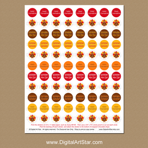 Printable Thanksgiving Candy Stickers