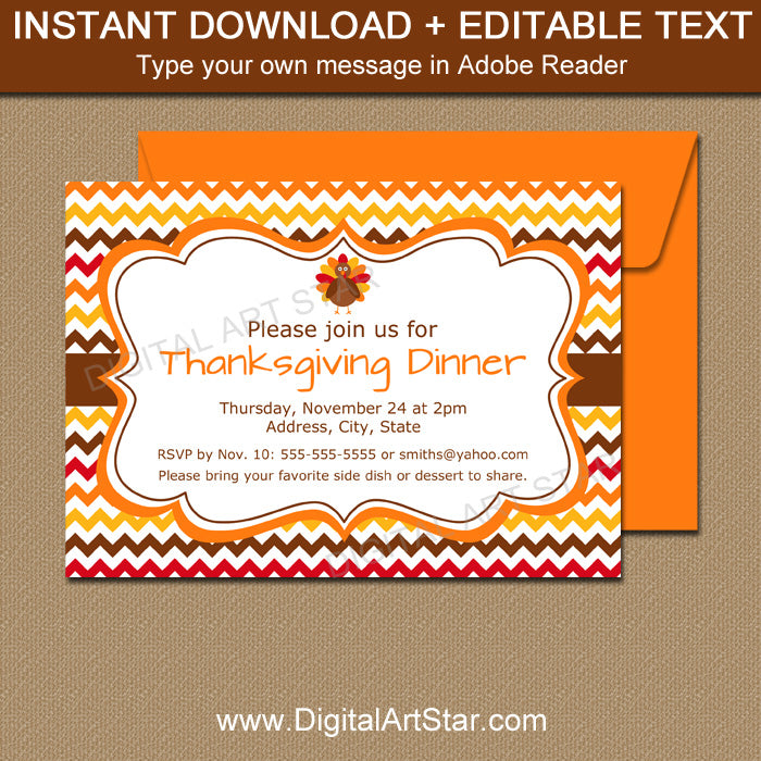 Thanksgiving Invitation Template  Digital Art Star