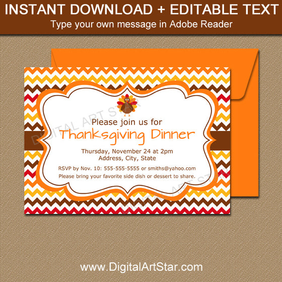 printable Thanksgiving invitation with chevron
