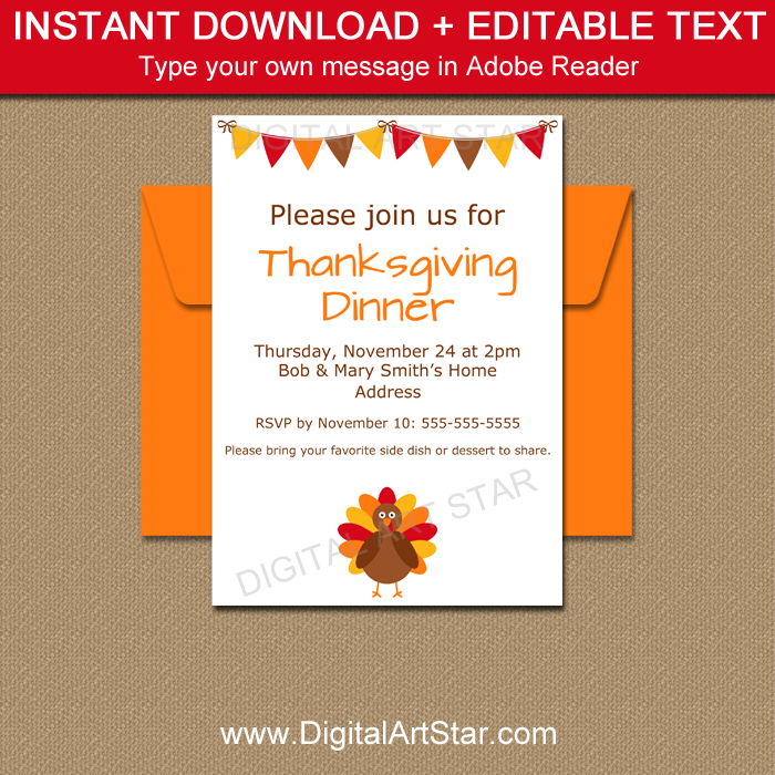 Printable Thanksgiving Invite