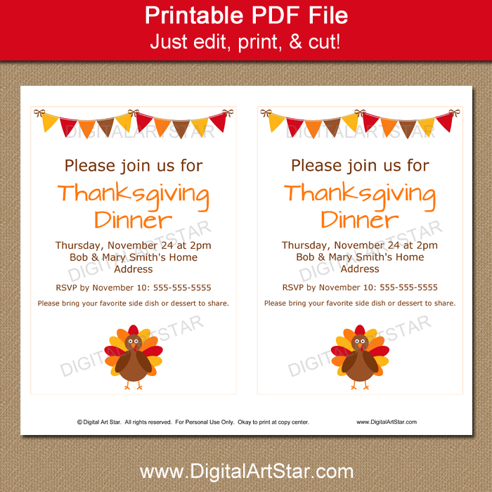Printable Thanksgiving Invitation Template