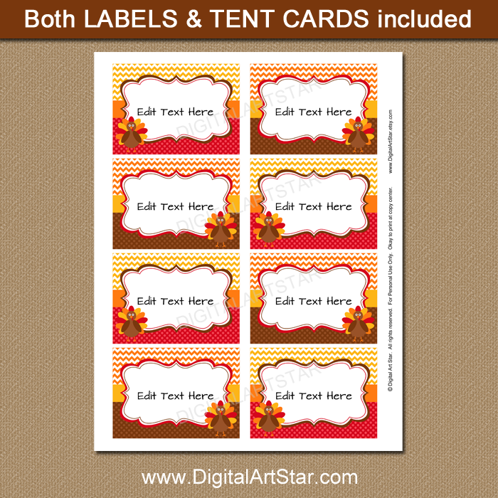 picture regarding Thanksgiving Place Cards Printable identified as Thanksgiving Space Playing cards with Turkeys, Chevron, Dots