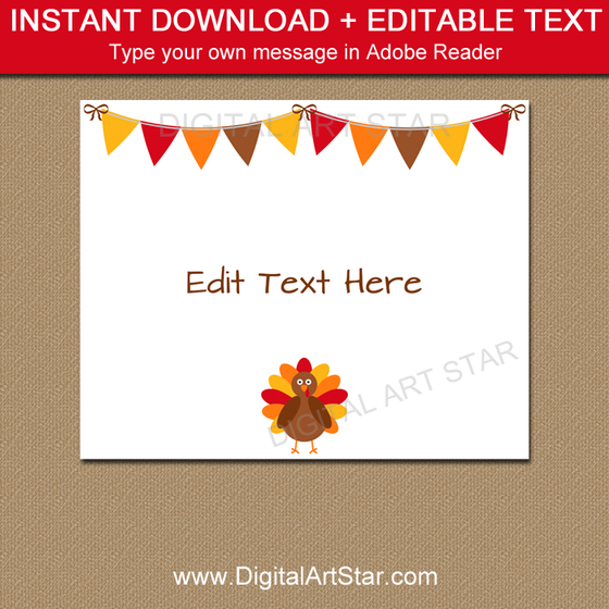 Thanksgiving Signs - Printable Sign Template - Digital Art Star