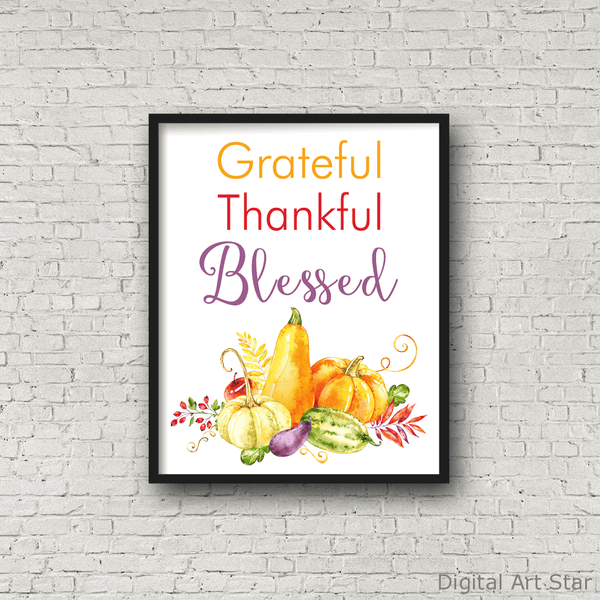 Grateful Thankful Blessed Fall Gourd Wall Art Print