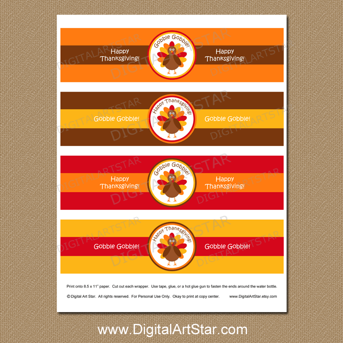 Downloadable Thanksgiving Water Bottle Labels