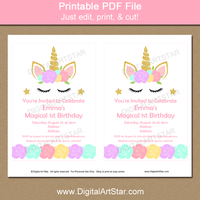 Printable Unicorn 1st Birthday Invitation Template