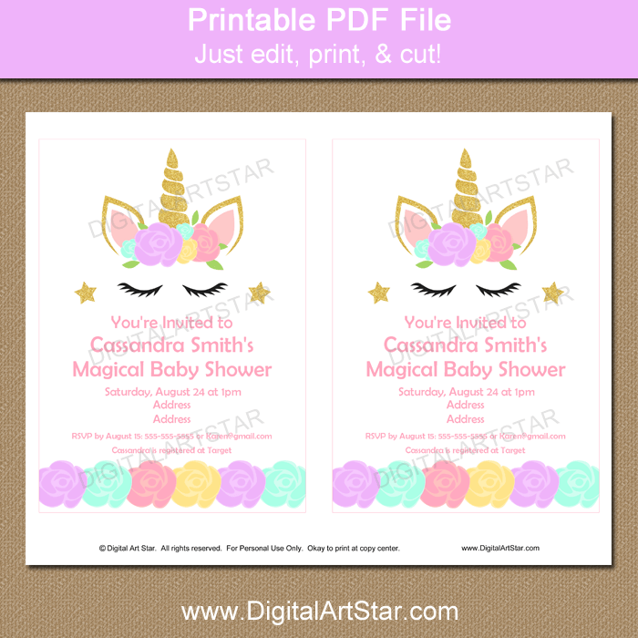 photo relating to Unicorn Face Printable titled Unicorn Confront Boy or girl Shower Invites Obtain