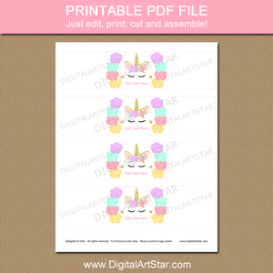 Printable Unicorn Face Water Bottle Wraps for Birthday or Baby Shower