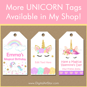 Printable Unicorn Gift Tags by Digital Art Star