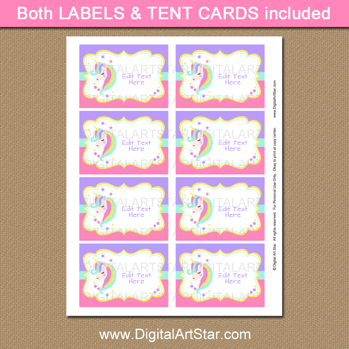 Unicorn Party Supplies - Printable Labels and Place Cards