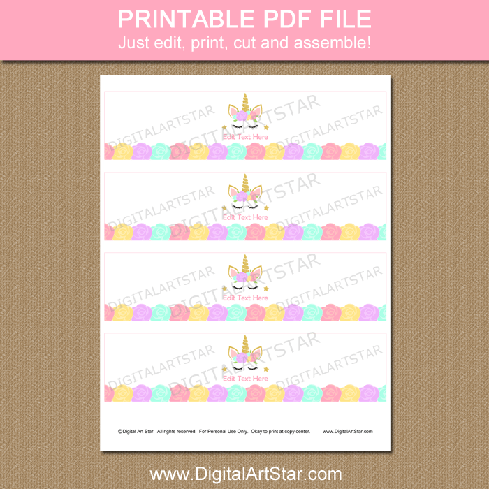 Unicorn Party Water Bottle Labels Template